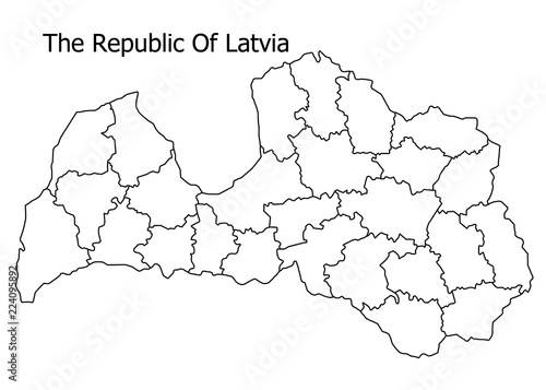 Fotografia  The Republic of Latvia border on a white background circuit