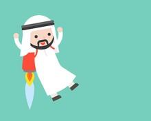 Cute Arab Businessman Flying W...