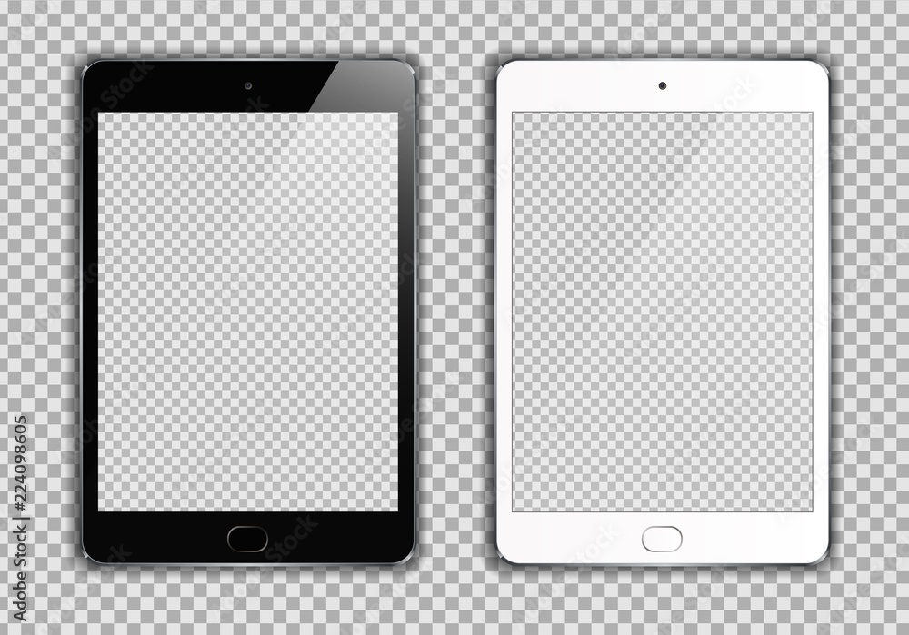 Fototapeta New Realistic set of White and Black Tablet PC Computer on transparent Background. Can Use for Template, Project, Presentation or Banner. Electronic Gadget, Device Set Mock Up. Vector Illustration