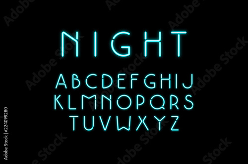 Fotografía  Decorative sans serif font with neon effect