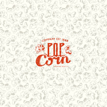 Seamless Pattern And Emblem For Popcorn Packaging