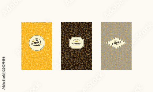 Set of cover, label, logo and seamless pattern  for fowl market Canvas Print