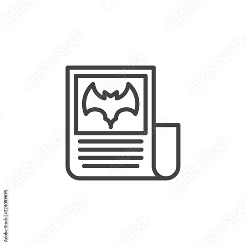 Halloween Newspaper Outline Icon Linear Style Sign For Mobile Concept And Web Design News