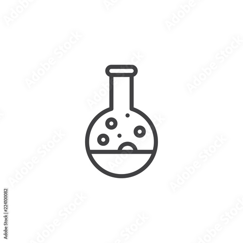 Fototapeta Poison flask outline icon. linear style sign for mobile concept and web design. Test tube with potion bubbles simple line vector icon. Science Symbol, logo illustration. Pixel perfect vector graphics obraz