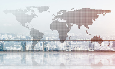 Fototapeta na wymiar Concept of global communication and networking with world map over cityscape