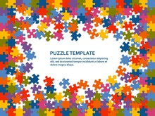 Jigsaw Puzzle Background With Many Colorful Pieces. Abstract Mosaic Template. Vector Illustration.