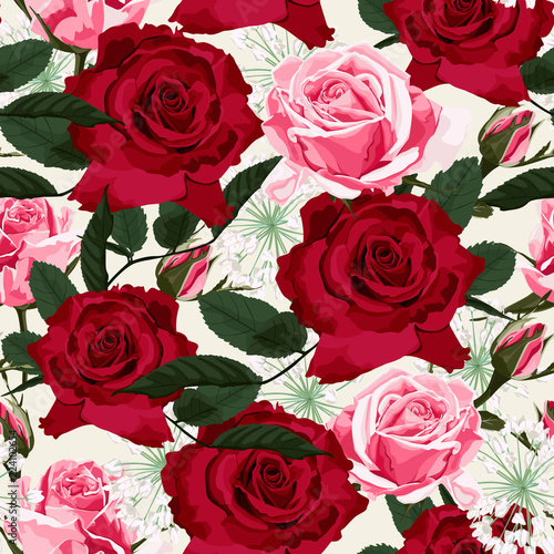 Seamless floral pattern with red and pink roses and white