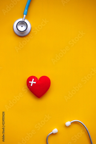 Fotografie, Obraz  Red heart with stethoscope for background