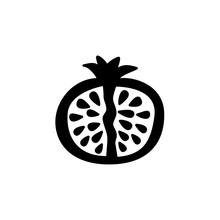 Black & White Vector Illustration Of Cut Pomegranate With Seeds. Flat Icon Of Fresh Fruit. Vegan & Vegetarian Food. Health Eating Ingredient. Isolated Object
