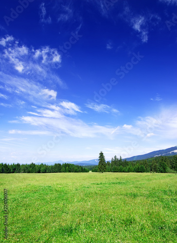 Foto op Plexiglas Donkerblauw Idyllic view, green hills and blue sky with white clouds