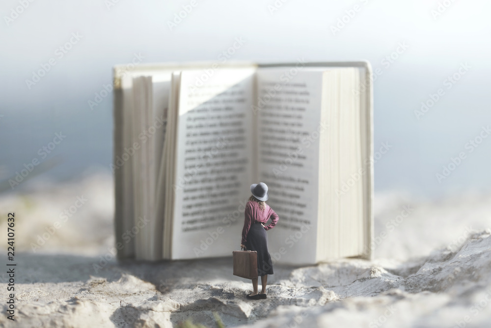Fototapeta surreal journey of a woman inside the story of an adventurous book