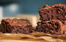 Freshly Backed Chocolate Brownies Close Up