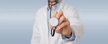 Doctor Using Stethoscope In Hospital
