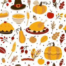 Seamless Pattern WithThanksgiving Day Elements Isolated On White