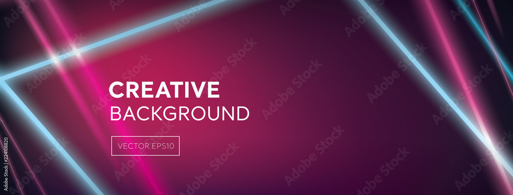 Fototapety, obrazy: Modern vivid colorful laser beams on abstract dark purple pink banner background