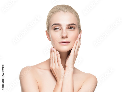 Fotografía  Beauty skin pure makeup blonde woman isolated on white