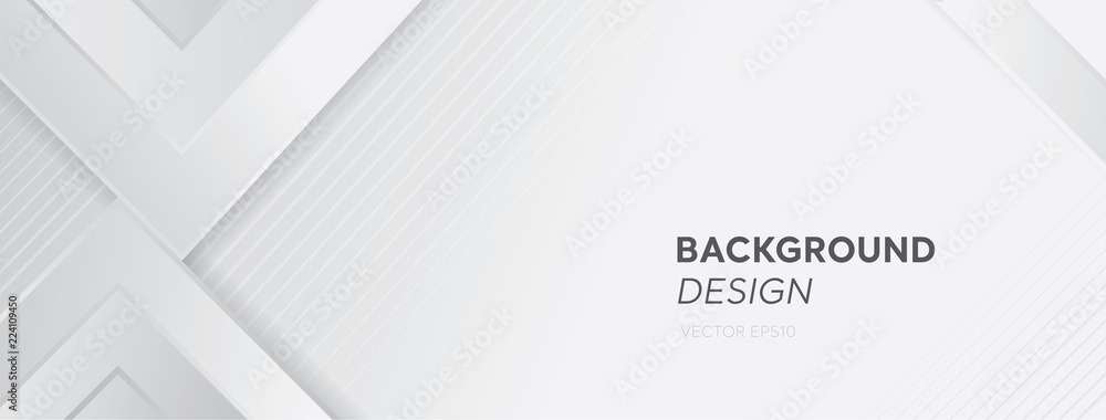 Fototapety, obrazy: Modern white gray abstract web banner background creative design