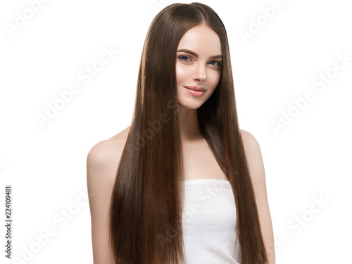Fényképezés  Beautiful long hair smooth woman with perfect hairstyle young model