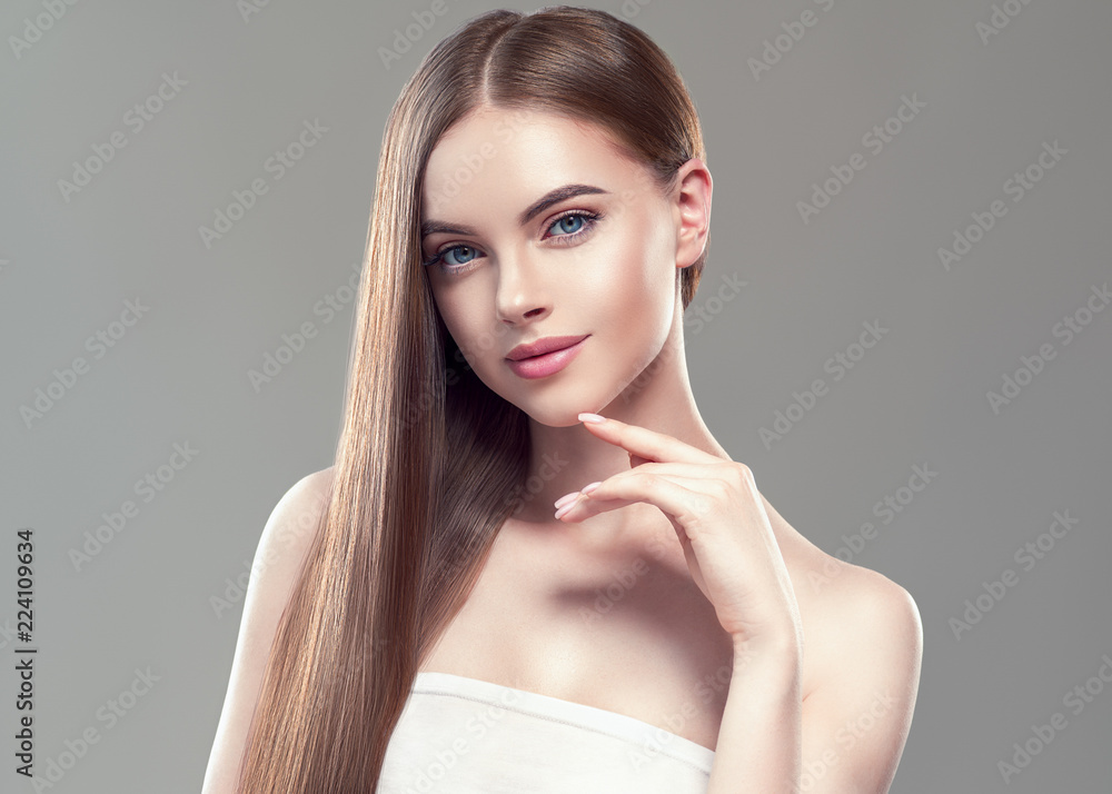 Fototapeta Beautiful long hair smooth woman with perfect hairstyle young model
