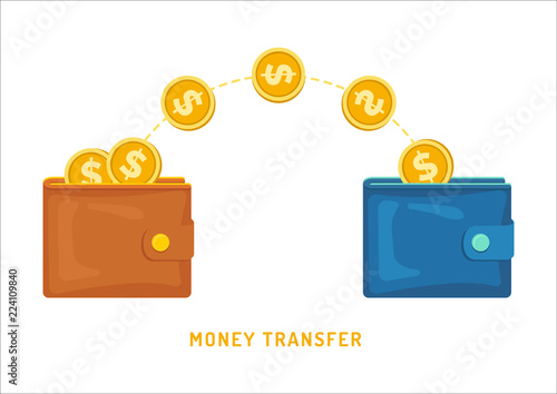 Fotografia, Obraz  Money transfer between wallets, flat styling
