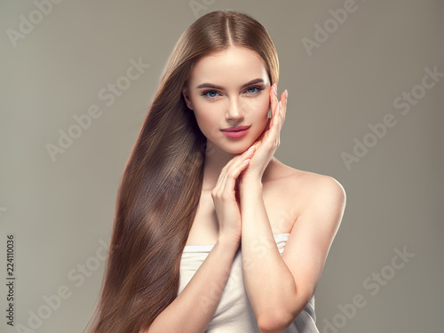 Fototapeta Long smooth hair woman brunette with healthy hairstyle