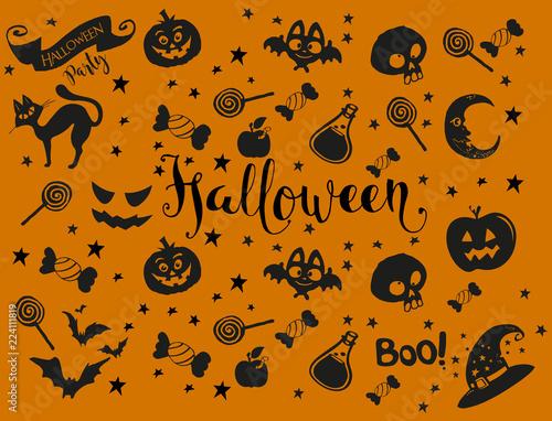 Photo Halloween vector seamless pattern