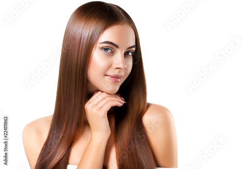Fotografia Woman with beautiful long hair isolated on white healthy and shine hairstyle