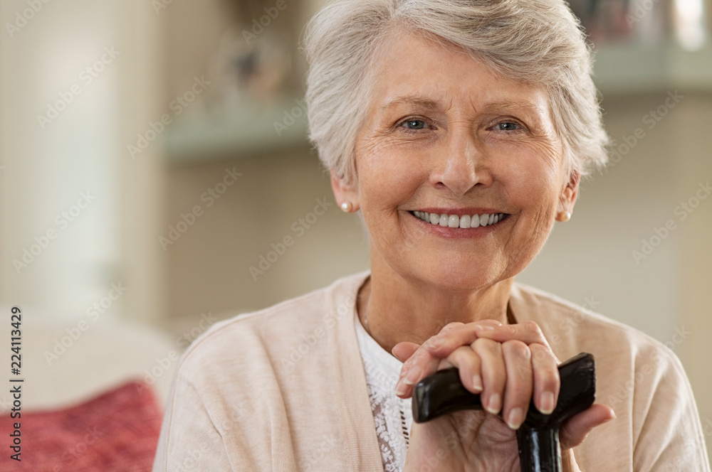 Fototapety, obrazy: Elderly woman smiling at home