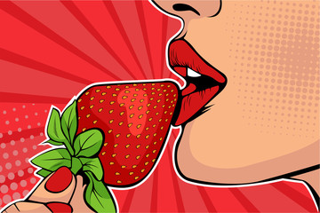 Girls lips with strawberry....