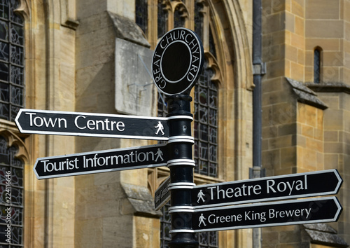 Fotografia, Obraz  Sign for tourist attractions in Bury St Edmunds, Suffolk, England