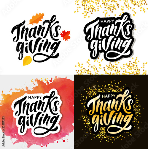 Fotografering  Happy Thanksgiving lettering Calligraphy Brush Text Holiday Vector Sticker Gold