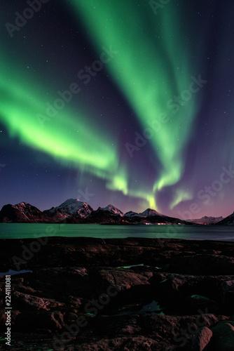 Photo  Night winter landscape with Northern lights, Aurora borealis