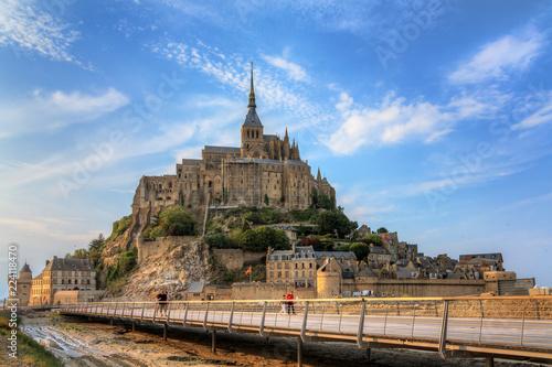 Beautiful view of historic landmark Le Mont Saint-Michel in Normandy, France, a Fotobehang