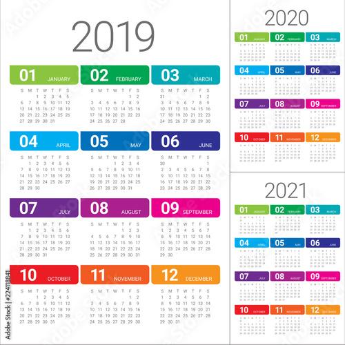 Fotografia  Year 2019 2020 2021 calendar vector design template