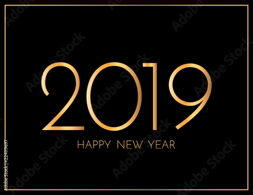 Fototapeta New Year 2019 greeting card. 2019 golden New Year sign on dark background. Illustration of happy new year 2019. obraz na płótnie
