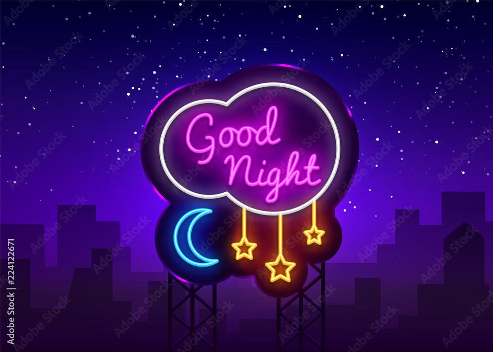 Dobranoc Neon Sign Wektor. Dobranoc neonowy tekst, szablon, nowoczesny trend, neon szyld nocny, reklama nocna, transparent światła, sztuka światła. Ilustracji wektorowych. Billboard