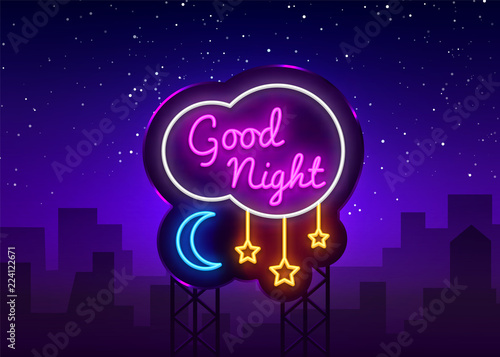 Fotografía Good Night Neon Sign Vector