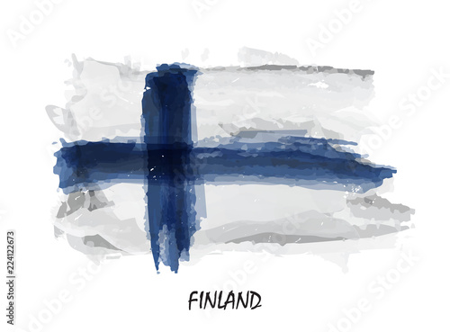 Realistic watercolor painting flag of Finland Fototapeta