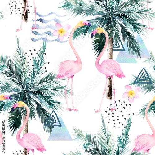 abstrakcjonistyczny-tropikalny-wzor-z-flamingiem-protea-i-drzewkiem-palmowym-akwarela-bez-szwu-wydruku-akwarela-ilustracja-minimalizm