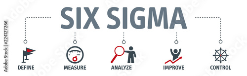 Fotografie, Obraz  Lean six sigma concept vector illustration with text and related icons