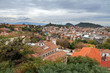 Beautiful cityscape of the skyline of Plovdiv, Bulgaria, seen from the hill Nebet Tepe in the medieval part of the city called Old Town