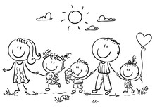 Family With Three Children Walking Outdoors, Outline