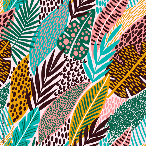 Cadres-photo bureau Aquarelle la Nature Bright tropical leaf seamless pattern.