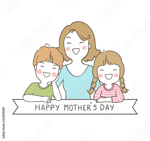 Draw Cute Girl And Boy With Mom And Word Happy Mother Day Buy This