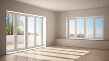 Modern Empty Space With Big Panoramic Windows And Wooden Floor, Minimalist White Architecture Interior Design