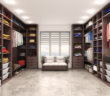 Modern Luxury Dressing Room, Wardrobe, 3d Illustration