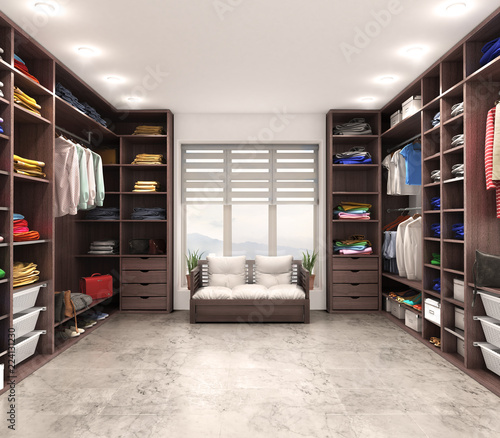 Fotografering Modern luxury dressing room, wardrobe, 3d illustration