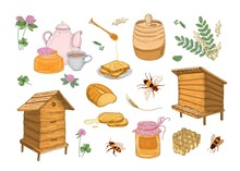 Collection Of Honey Production, Beekeeping Or Apiculture Attributes - Honeycomb, Wooden Beehives, Dipper, Bees, Barrel Hand Drawn In Vintage Style On White Background. Colorful Vector Illustration.
