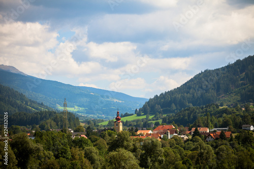 View of a small town in the Austrian Alps.