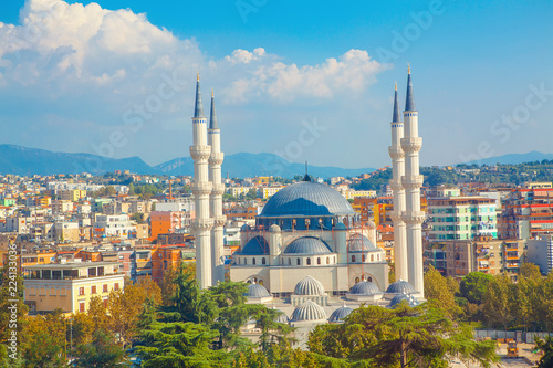 Panorama of Tirana and largest mosque in Albania Canvas Print